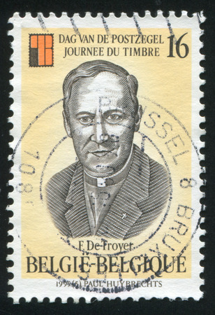 frans: RUSSIA KALININGRAD, 26 OCTOBER 2015: stamp printed by Belgium, shows Frans de Troyer, circa 1995