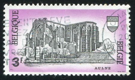 roofless: RUSSIA KALININGRAD, 26 OCTOBER 2015: stamp printed by Belgium, shows Ruins of Aulne Abbey, Gozee, circa 1969
