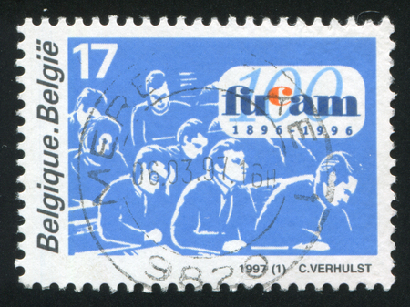 faculty: RUSSIA KALININGRAD, 26 OCTOBER 2015: stamp printed by Belgium, shows Catholic Faculty University, Mons, circa 1997 Editorial