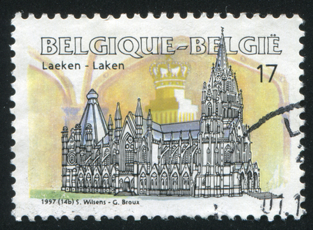 crown spire: RUSSIA KALININGRAD, 26 OCTOBER 2015: stamp printed by Belgium, shows Notre Dame Church, Laeken, circa 1997 Editorial