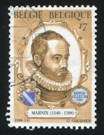 philips: RUSSIA KALININGRAD, 26 OCTOBER 2015: stamp printed by Belgium, shows Philips van Marnix van Sint Aldegonde, Author, circa 1998