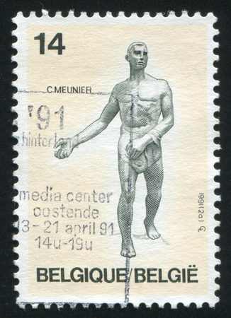 constantin: RUSSIA KALININGRAD, 26 OCTOBER 2015: stamp printed by Belgium, shows The Sower by Constantin Meunier, circa 1991