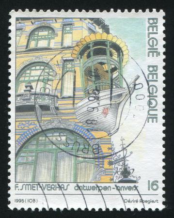 frans: RUSSIA KALININGRAD, 26 OCTOBER 2015: stamp printed by Belgium, shows De Viif Werelddelen, corner building, Antwerp, by Frans Smet-Verhas, Architectural designs, circa 1995 Editorial