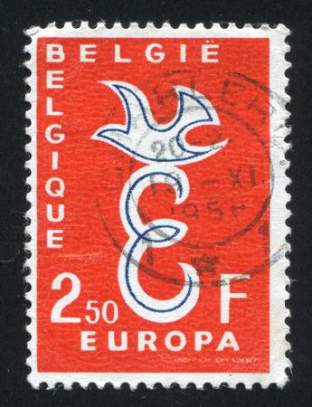 poststempel: BELGIEN - CIRCA 1959: Stempel von Belgien gedruckt, zeigt Emblem Europa, circa 1959 Editorial