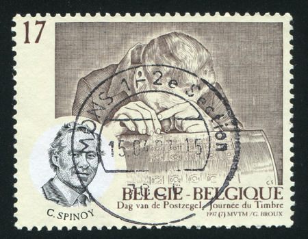engraver: RUSSIA KALININGRAD, 26 OCTOBER 2015: stamp printed by Belgium, shows Constant Spinoy, Stamp Engraver, circa 1997