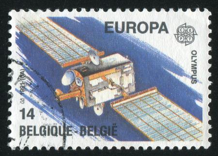 olympus: RUSSIA KALININGRAD, 26 OCTOBER 2015: stamp printed by Belgium, shows Olympus 1 satellite, circa 1991