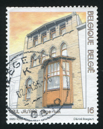 architectural designs: RUSSIA KALININGRAD, 26 OCTOBER 2015: stamp printed by Belgium, shows House, Liege, by Paul Jaspar, Architectural designs, circa 1995