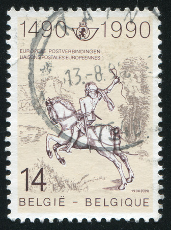 durer: RUSSIA KALININGRAD, 26 OCTOBER 2015: stamp printed by Belgium, shows The Young Post Rider, Engraving by Albrecht Durer, circa 1990