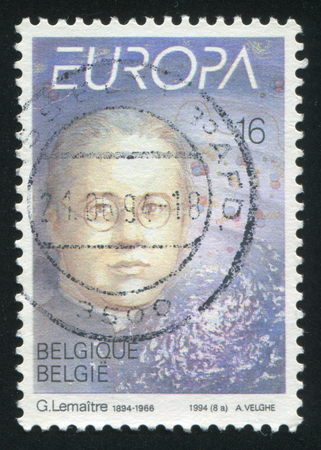 big bang theory: RUSSIA KALININGRAD, 26 OCTOBER 2015: stamp printed by Belgium, shows Abbe Georges Lemaitre, circa 1994