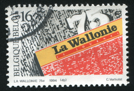 wallonie: RUSSIA KALININGRAD, 26 OCTOBER 2015: stamp printed by Belgium, shows Daily Newspapers, La Wallonie, circa 1994 Editorial