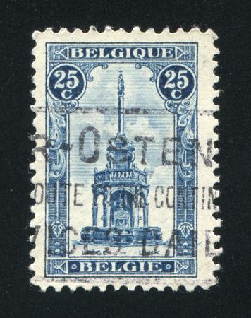 liege: BELGIUM - CIRCA 1919: stamp printed by Belgium, shows Perron of Liege, Fountain, circa 1919