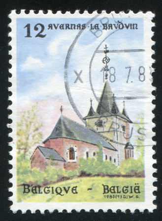 baudouin: RUSSIA KALININGRAD, 26 OCTOBER 2015: stamp printed by Belgium, shows Church of the Assumption of Our Lady, Avernas-le-Baudouin, circa 1985