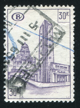 railroad station: RUSSIA KALININGRAD, 20 OCTOBER 2015: stamp printed by Belgium, shows Railroad station, South Station, circa 1953