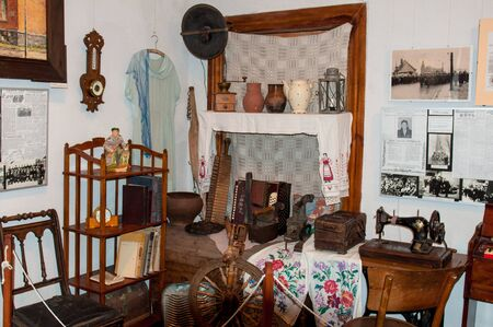 exposition: The museum exposition. Ancient interior. Vintage Room. Antique household items. Editorial