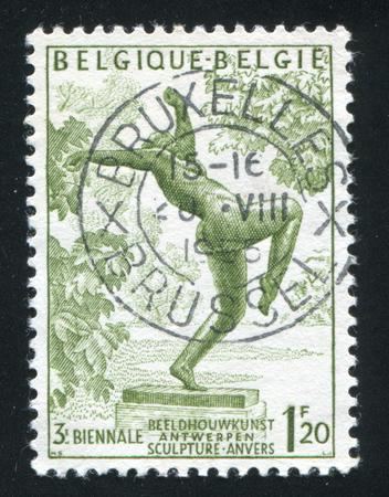 foolish: RUSSIA KALININGRAD, 20 OCTOBER 2015: stamp printed by Belgium, shows The Foolish Virgin by Rik Wouters, circa 1955
