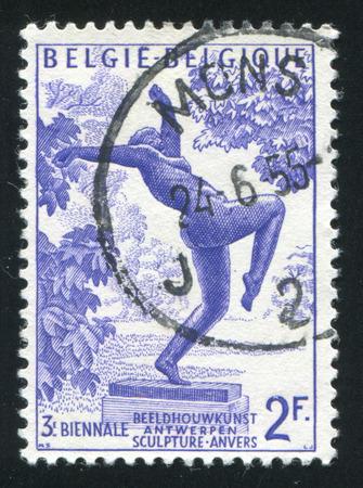 foolish: BELGIUM - CIRCA 1955: stamp printed by Belgium, shows The Foolish Virgin by Rik Wouters, circa 1955