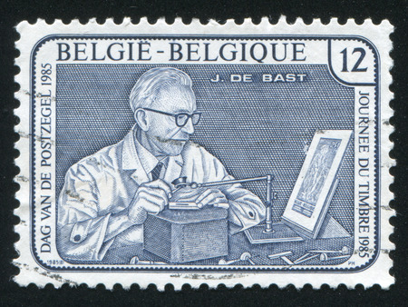 engraver: RUSSIA KALININGRAD, 19 OCTOBER 2015: stamp printed by Belgium, shows Jean de Bast Engraver, circa 1985 Editorial
