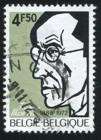 frans: RUSSIA KALININGRAD, 19 OCTOBER 2015: stamp printed by Belgium, shows Frans Masereel, Woodcirca Engraver, circa 1972