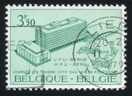 upu: RUSSIA KALININGRAD, 19 OCTOBER 2015: stamp printed by Belgium, shows New UPU Headquarters and Monument Bern, circa 1970