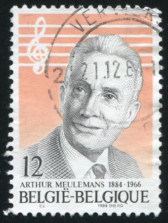 composer: RUSSIA KALININGRAD, 19 OCTOBER 2015: stamp printed by Belgium, shows Arthur Meulemans Composer, circa 1984