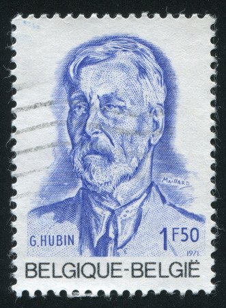 minister: RUSSIA KALININGRAD, 19 OCTOBER 2015: stamp printed by Belgium, shows Georges Hubin, Socialist Leader, Minister of State, circa 1971 Editorial