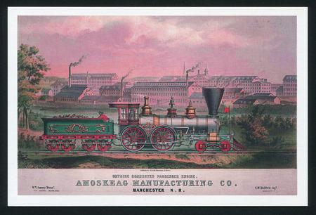 lithography: RUSSIA - CIRCA 2014: post card printed by Russia (USSR), shows Lithography locomotive, USA, 1850, circa 2014
