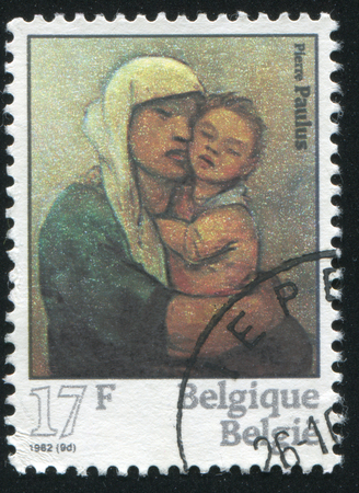 paulus: RUSSIA KALININGRAD, 19 OCTOBER 2015: stamp printed by Belgium, shows Madonna and Child, by Pieter Paulus, circa 1982 Editorial