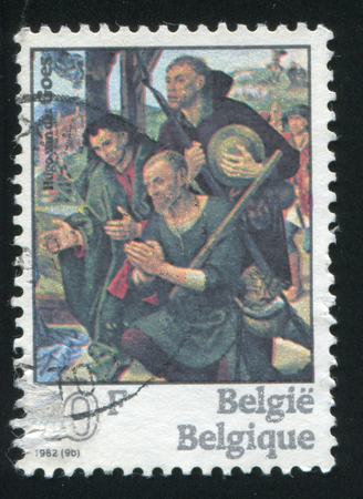 adoration: RUSSIA KALININGRAD, 19 OCTOBER 2015: stamp printed by Belgium, shows Adoration of the Shepherds by Hugo van der Goes, circa 1982
