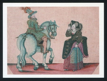 jacobean: RUSSIA KALININGRAD, 3 AUGUST 2015: post card printed by Russia, shows Jacobean Types. The costumes of the medieval era, circa 2013.