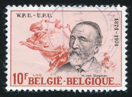 upu: RUSSIA KALININGRAD, 19 OCTOBER 2015: stamp printed by Belgium, shows Heinrich von Stephan, UPU emblem, circa 1974