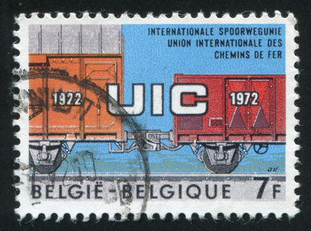 coupling: RUSSIA KALININGRAD, 19 OCTOBER 2015: stamp printed by Belgium, shows Freight Cars with Automatic Coupling, circa 1972