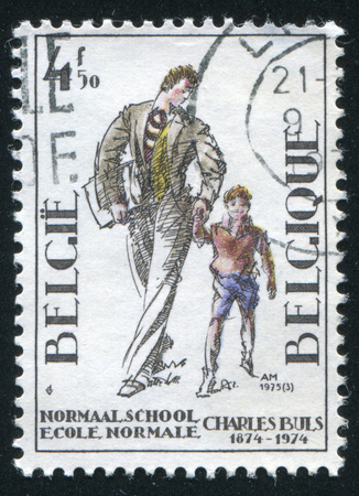 normal school: RUSSIA KALININGRAD, 20 OCTOBER 2015: stamp printed by Belgium, shows Charles Buls Normal School for Boys, Brussels, circa 1974 Editorial