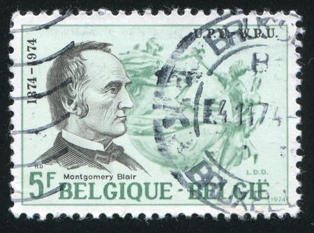 upu: RUSSIA KALININGRAD, 19 OCTOBER 2015: stamp printed by Belgium, shows Montgomery Blair, UPU Emblem, circa 1974