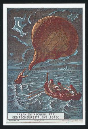 blimp: RUSSIA - CIRCA 2014: post card printed by Russia, shows Balloon. Albert Tissandier the history of aeronauticsh, circa 2014.