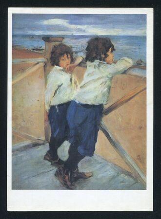 RUSSIA - CIRCA 1990: post card printed by Russia, shows Painting Children. Sasha and Yura Serov. Artist Valentin Serov, circa 1990.
