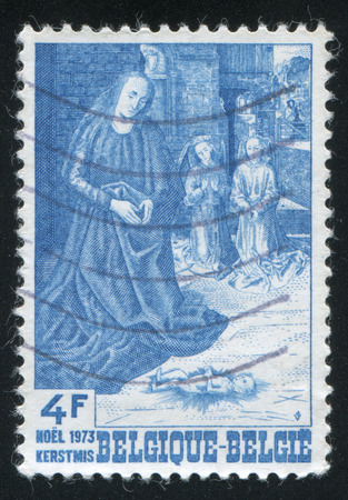 adoration: RUSSIA KALININGRAD, 20 OCTOBER 2015: stamp printed by Belgium, shows Adoration of the Shepherds, by Hugo van der Goes, circa 1973 Editorial