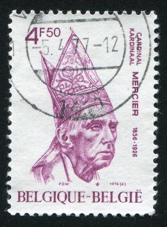 pontiff: RUSSIA KALININGRAD, 20 OCTOBER 2015: stamp printed by Belgium, shows Cardinal Mercier, circa 1976