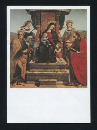 enthroned: RUSSIA - CIRCA 1988: post card printed by Russia, shows Raphael Picture Madonna and Child Enthroned with Saints, circa 1988.