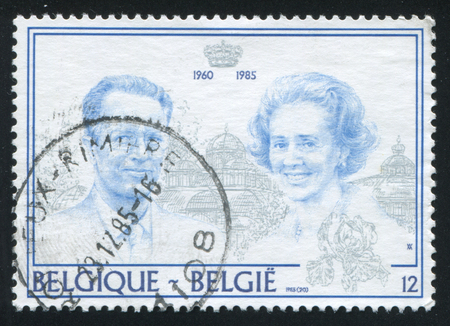 baudouin: RUSSIA KALININGRAD, 20 OCTOBER 2015: stamp printed by Belgium, shows King Baudouin and Queen Fabiola, circa 1985