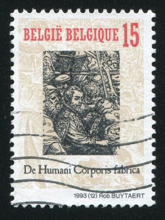 fabrica: RUSSIA KALININGRAD, 20 OCTOBER 2015: stamp printed by Belgium, shows Publication of De Humani Corporis Fabrica, by Andreas Vesalius, circa 1993 Editorial