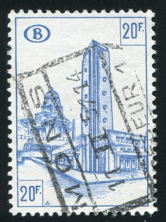 railroad station: BELGIUM - CIRCA 1953: stamp printed by Belgium, shows Railroad station, South Station, circa 1953