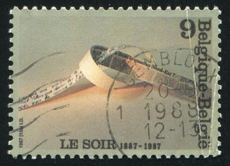 broadsheet: RUSSIA KALININGRAD, 20 OCTOBER 2015: stamp printed by Belgium, shows Newspaper Centennials, circa 1987
