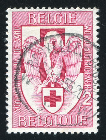 red cross red bird: RUSSIA KALININGRAD, 20 OCTOBER 2015: stamp printed by Belgium, shows Blood donor service of the Belgian Red Cross, circa 1956