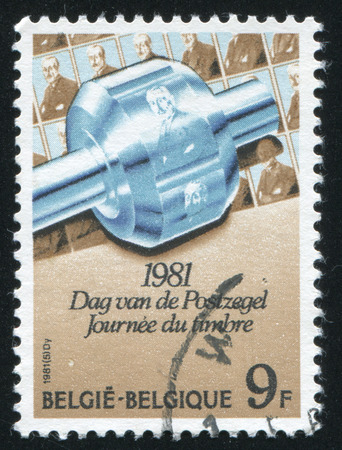 the founder: RUSSIA KALININGRAD, 20 OCTOBER 2015: stamp printed by Belgium, shows Impression of M.A. de Cock Founder of Post Museum, circa 1981 Editorial