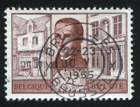 birthplace: RUSSIA KALININGRAD, 20 OCTOBER 2015: stamp printed by Belgium, shows St. Jean Berchmans and his Birthplace, circa 1965