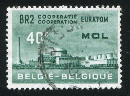 reactor: RUSSIA KALININGRAD, 20 OCTOBER 2015: stamp printed by Belgium, shows Atomic Reactor plant, circa 1961