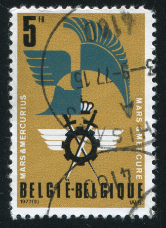 old mercury: RUSSIA KALININGRAD, 20 OCTOBER 2015: stamp printed by Belgium, shows Mars and Mercury Association Emblem, circa 1977