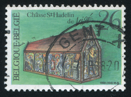 20 s: RUSSIA KALININGRAD, 20 OCTOBER 2015: stamp printed by Belgium, shows Shrine, St. Hadelin's Church, Vise, circa 1988
