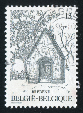 bred: RUSSIA KALININGRAD, 20 OCTOBER 2015: stamp printed by Belgium, shows Chapel of Our Lady of the Dunes, Bred, circa 1986