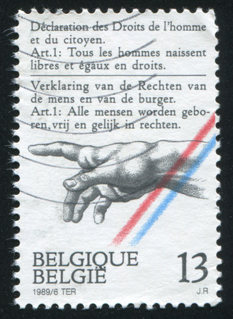 declaration: RUSSIA KALININGRAD, 20 OCTOBER 2015: stamp printed by Belgium, shows Declaration of Rights of Man and the Citizen, circa 1989